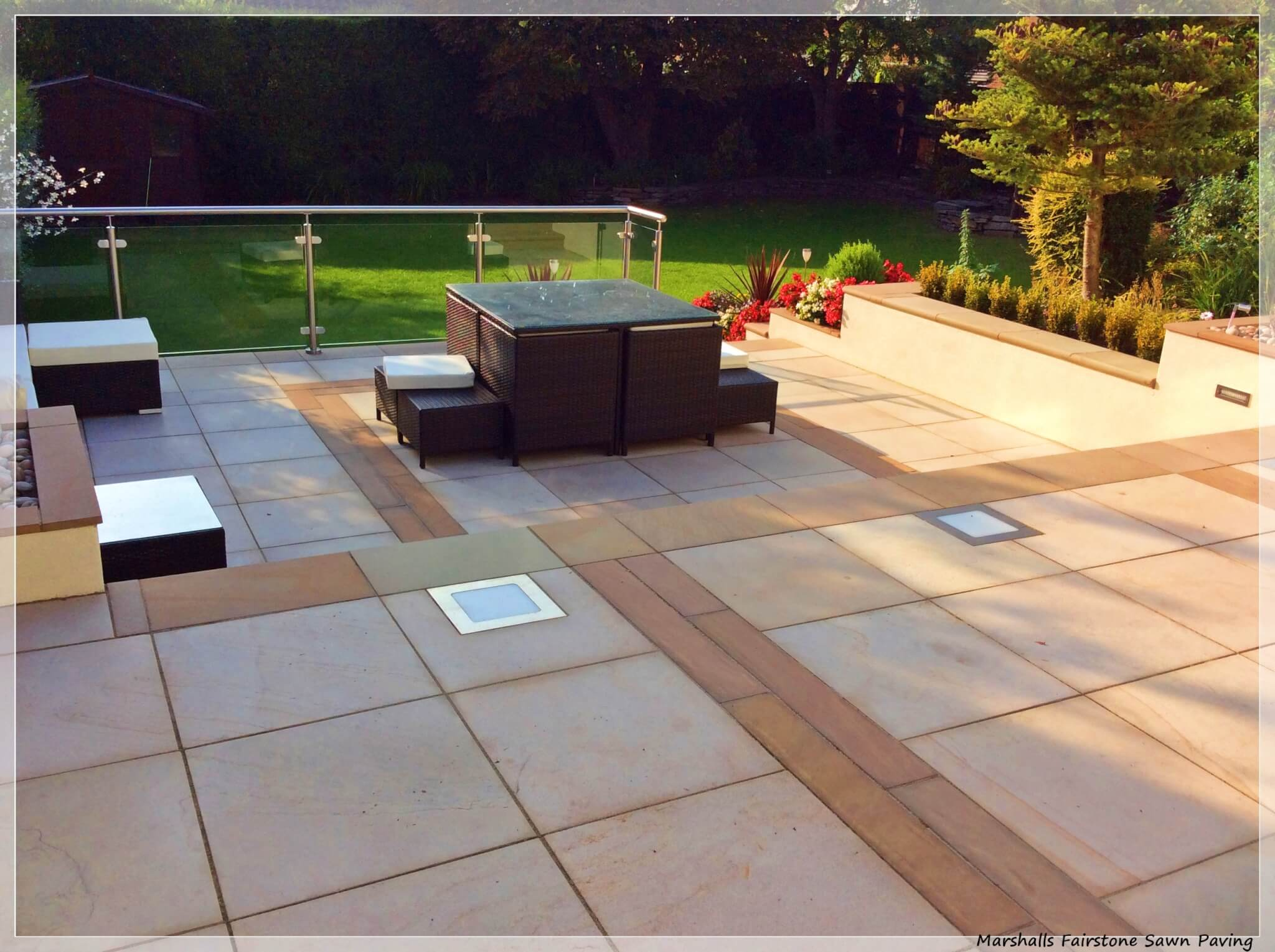 landscaping natural fairstone paving patio ormskirk