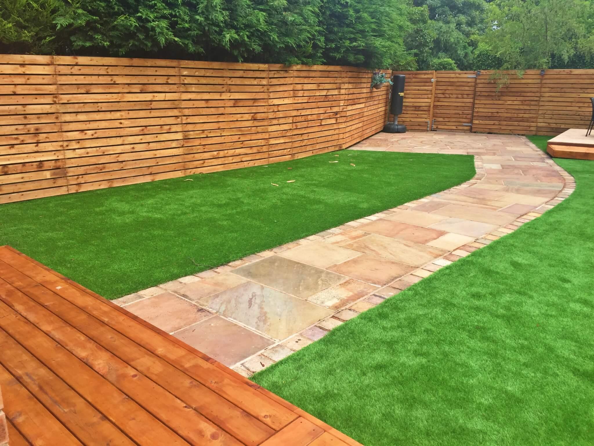 Timber decking artificial grass contemporary fencing for Garden decking with artificial grass